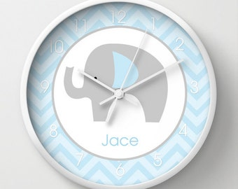 Blue and Gray Mod Elephant Blue Chevron Stripe Nursery Wall Clock 10-inch, Choose frame color, hands, personalization