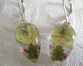 Soft Morning Sun-Soft Yellow Pansy,Pink Veronica,Ferns Glass Teardrop Pressed Flower Leverback Earrings-Symbolizes Loyalty-Gifts Under 25
