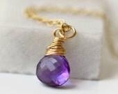 Amethyst Briolette Necklace / Small Amethyst Necklace / Amethyst Gold Pendant / February Birthstone Necklace / Minimalist Gemstone Necklace