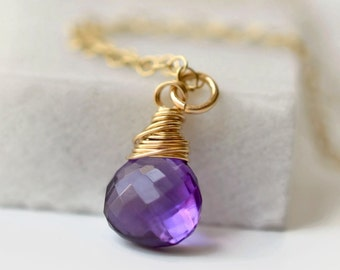 Amethyst Briolette Necklace / Small Amethyst Necklace / Amethyst Gold Pendant / February Birthstone Necklace / Minimalist Gemstone Necklace
