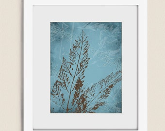 Blue and Brown Decor for Wall, Fern Wall Art for Home or Office, Brown and Blue Wall Decor, Nature Wall Art, Living Room Art (276)