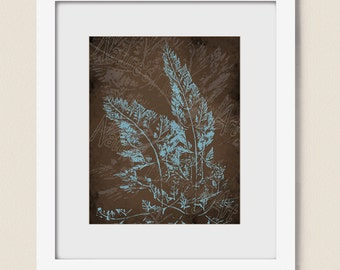 Botanical Art, Blue Wall Art Print,  Blue and Brown Home Decor, Fern Leaf Art for Bedroom Decor, 8 x 10 Wall Art for Home  (401)