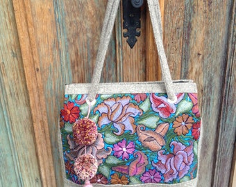 Fan page special normally 122 Upcycled vintage embroidered  Chiapas tote
