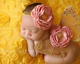 Chicaboo Couture Baby Butterfly Wing Set. Dusty Rose and Gold Newborn butterfly wings set. Baby butterfly wings. newborn photogarphy prop