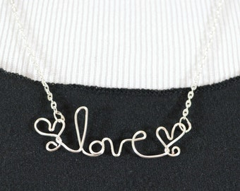 Love Necklace with hearts- silver