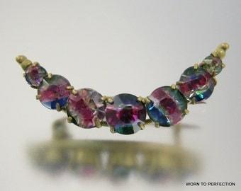 Iris Glass Crescent Brooch