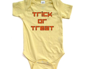 Apericots Cute Orange and Black Trick or Treat Unisex Halloween Baby Snapsuit
