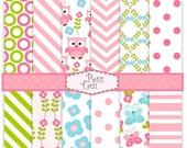 ON SALE Owls Digital paper, digital backgrounds-cute Owls digital paper-04,digital paper for children, blue,pink, green,chevron, polkadots