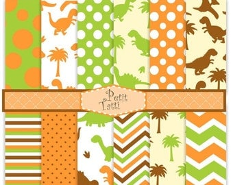 ON SALE Dinosaur Digital paper, Dinosaur background, boy dinosaur, cute dinosaur, orange, green, brown, chevron, stripe, paper background