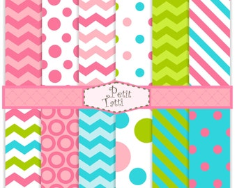 ON SALE Pink Digital Paper Pack _ Digital background-color 07, sweet color digital paper, blue,pink, green,chevron, stripe, polkadots