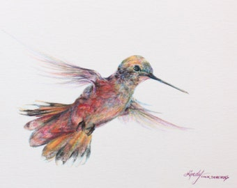 Hummingbird Gift Tags, set of 6 miniature fine art images with twine ties