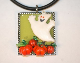 3-D Haunted Pumpkin Patch Necklace ,  Halloween Necklace , Ghost Necklace