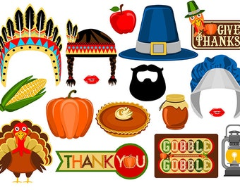 Thanksgiving digital photo booth props Instant download