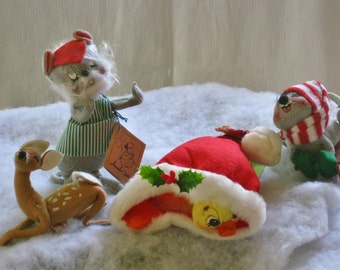Vintage Collection Annalee Christmas Doll Animal Figures, Workshop Mouse, Sled, Duck in Santa Cap, Baby Reindeer Collectibles AS IS