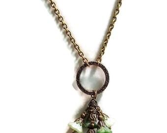 Flower Necklace. Dangling Czech Glass Flower Necklace. Antique Gold Flower Necklace. PRICE REDUCED