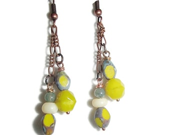 Lime Green Dangle Copper Chain Earrings