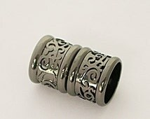 8 Millimeter End Caps, Black Rhodium Plated Magnetic End Cap with Decorative Relief Design, Glue in End Cap, Cord Ends