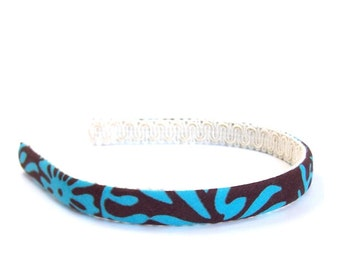 Floral Headband - Chocolate Brown and Turquoise Abstract Floral