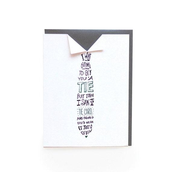Tie - letterpress card
