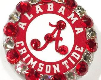 Swarovski Crystal Alabama Role Tide Crimson TIde Crystal Embellished Retractable ID Name Tag Badge Reel