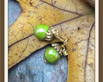 One Pair Acorn Pendants or Charms in Czech Glass & Brass