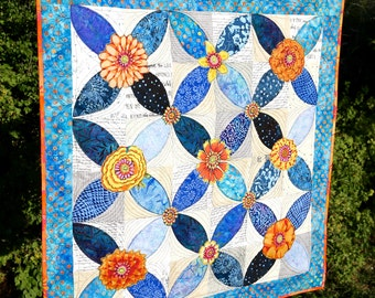 MarveLes COLLAGE a-PEEL Floral  Collage Quilted Batik Fabrics Table Runner Wall Hanging Orange Blue Turquoise Orange Peel