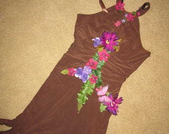 Halloween Costume forest woodland elf fantasy fairy dress  womens size 12 one of a kind recycled brown pink flower fairy