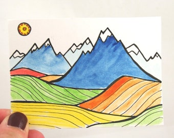 Artist Trading Card . ACEO . Watercolor Painting . Pen Drawing . Mountains and Fields . Collectible Art