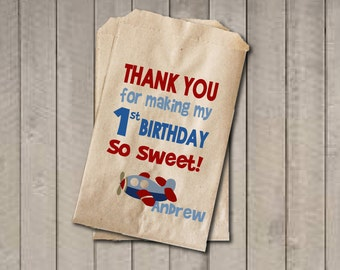 Boy Birthday Favor Bags, Airplane Candy Bags, First Birthday Favor, Birthday Candy Bags, Birthday Candy Buffet, Red & Blue Airplane Birthday