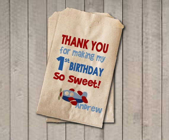 Boy Birthday Favor Bags, Airplane Candy Bags, First ...