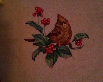 Cross Stitched Red Bird