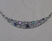 Sterling Silver Iolite Amethyst Lab Sapphire Lapis London Blue Topaz Multi Gemstone Necklace