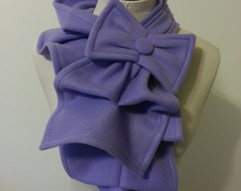 Ruffled Bow Scarf - Light Purple