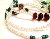 Necklace - Long - Faux Pearls and Czech Glass Owls