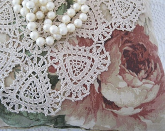Heart Doily, Handmade, Crochet, Shabby Cottage, Shabby Chic, Romantic Home, by mailordervintage on etsy