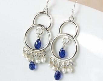 Blue Kyanite Chandelier Earrings – Freshwater Pearls – 925 Sterling Silver
