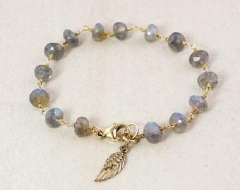 Gold Blue Labradorite Bracelet - Angel Wing Charm - Charm Bracelet
