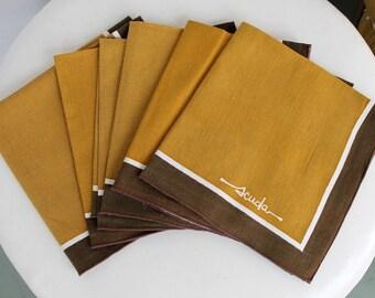 Scuda Cloth Napkins - Set of 6 Mid Century Linen - Vintage 1960s 60s