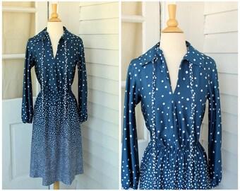 Navy Polka Dot Dress - Polyester Day Dress - Vintage 1970s 70s