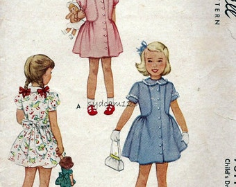 Vintage 1940s Pattern Girls Button Front Dress Peter Pan Collar Side Gathered Full Skirt McCalls 7311 Size 2