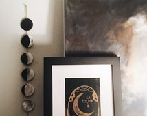 hand painted tiny moon phase wall hanging, wall decor, moon decor, moon phase decor