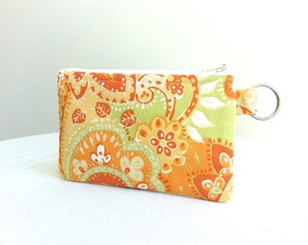 Summer Sorbet - Lime, Lemon and Orange Paisley Zippered Bag / Coin Purse / ID Case / Gadget Pouch with Split Ring - Ready to Ship