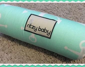 Mint with White Anchors and Navy Arm Pad for Car Seat Handle