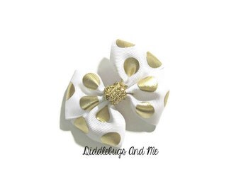 Gold and White Boutique Hair Bow, White and Gold Hair Bow,  Girls White Hair Bow, Boutique Bow, Girls Hair Accessories, Christmas Hair Bow