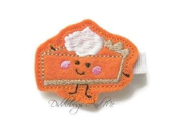 Pumpkin Pie Hair Clip, Fall Hair Clip, Girls Pumpkin Pie Hair Clip, Pie Hair Clip, Fall Hair Clip, Fall Pumpkin Pie Clip, Thanksgiving Clip
