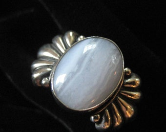 Blue Lace Agate Sterling Silver Ring, Size 7