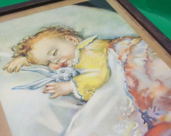 Antique Baby Sleeping Framed Picture Titled On Dreamland's Border