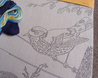 Vintage Embroidery Needlecraft Stitchery Kit Spring Serenity Bird On Wire Blue Do It Yourself Crafting Supplies Linen Wall Hanging Art