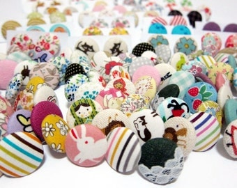 FREE SHIPPING Fabric Button Earrings / Posts Earrings - 3 For The Price of 2 Pairs SALE