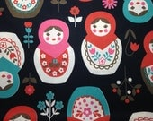 SALE 1yd Kokka MATRYOSHKA fabric black